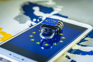Padlock over a smartphone and EU map, GDPR metaphor