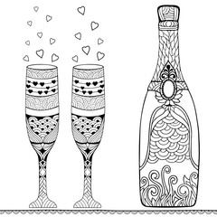 Bottle of champagne and two glasses. Doodle and zentangle style. Hand drawn coloring book. Vector illustration.