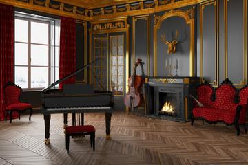 Schloss - Klavier - Kamin - Musikzimmer - Barock - Jugendstil