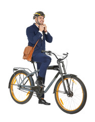 Young handsome businessman with bicycle on white background