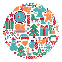 Traditional symbols of Christmas and new year