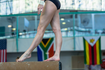 Gymnastics Girl Feet Balance Beam Closeup