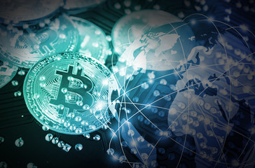 Bitcoin on technology circuit board background