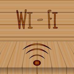 Wi-FI sign. Logo. White letters, the background of wooden boards.