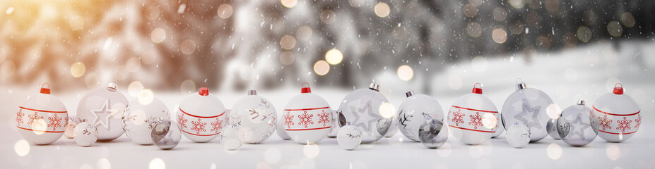 Red and white christmas baubles with candles 3D rendering