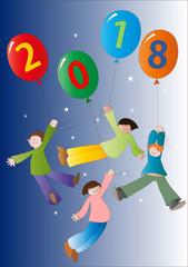 Anno nuovo con bambini e palloncini2018
