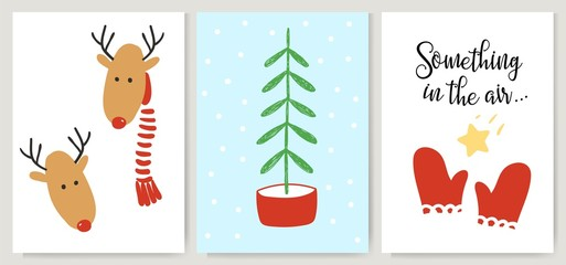 Cute Xmas cards, posters, letterings in cartoon style. Deer, Christmas tree and red mittens