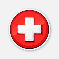 Vector illustration. Medical white cross. Hospital symbol. Icon of emergency health care. Sticker with contour. Isolated on white background. Decoration for patches, badges, prints for clothes