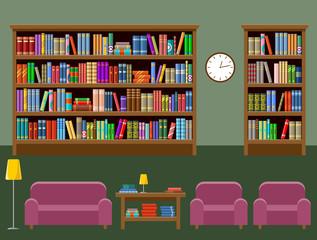 Library room. Interior. Books