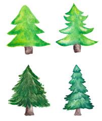 Watercolor Christmas Trees Set