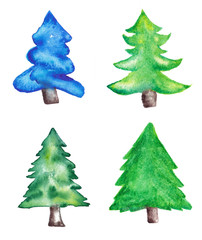 Watercolor Christmas Trees Set