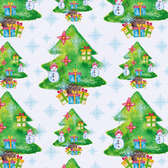 Watercolor Christmas pattern with christmas tree