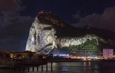 Night with on Gibraltar rock from Spanish La Linea de la Concepcion.