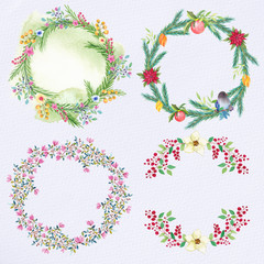 Watercolor winter floral wreaths