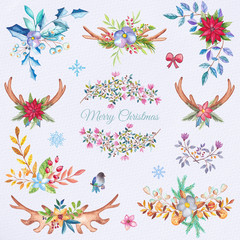 Watercolor Christmas decoration elements, flowers and leafs set