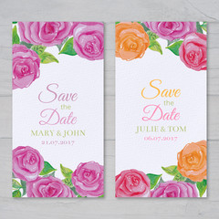 Wedding cards with watercolor roses