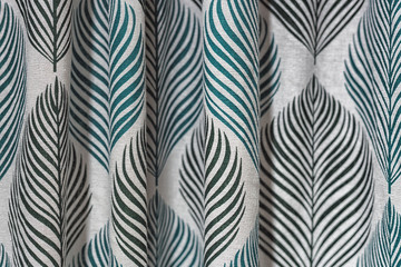 High resolution picture of white and green textile rolls texture.