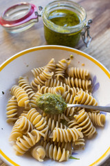 wholemeal pasta with homemade pesto sauce