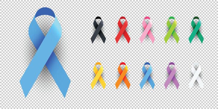 Realistic Colorful Awareness Ribbons Design Element Banner Emblem Sign Symbol Vector Illustration Various Colors on Transparent Background