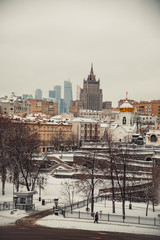 Moscow cityscape with Kudrinskaya Square skyscraper in winter
