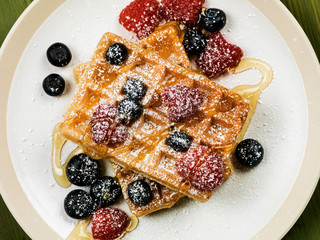 Waffles With Fresh Raspberries and Blueberries