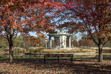 Music Pagoda bandstand on Pagoda Lake in Forest Park St Louis Missouri