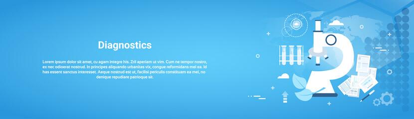 Diagnostics Medical Treatment Web Horizontal Banner With Copy Space Flat Vector Illustration