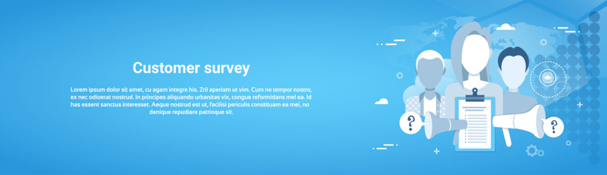Customer Survey Web Horizontal Banner With Copy Space Flat Vector Illustration