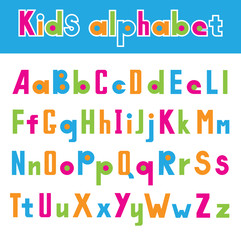Vector illustration of simple font isolated on white background. Childhood alphabet.
