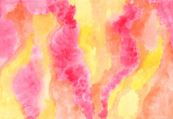 Multicolor abstract background in red and yellow. Watercolor rich texture