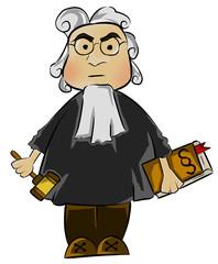 Richter mit Richterhammer und Gesetzbuch