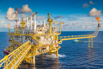 Offshore oil and gas industry. Gases and crude central processing platform treat raw medium and compress then sent to onshore refinery, petrochemical and power generation plant.