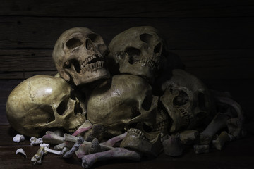 Skulls on  pile straw in the old barn / Still Life image and Selective focus