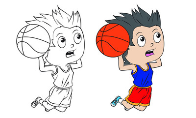 cartoon boy playing basketball . Both in separate layers for easy editing and coloring