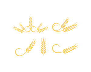 Wheat Food for Bakery Shop Symbol Vector Logo Set