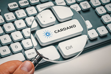magnifying glass in hand focused on computer key with cardano coin logo. cryptocurrency concept