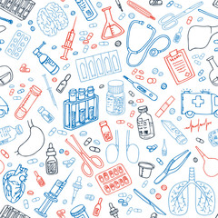 medicine and healthceare doodles seamledd vector pattern