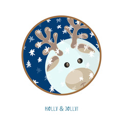Cute animal icon on white background. Ring badge label.