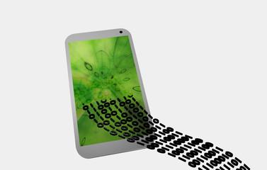 Datentransfer in ein weißes Handy mit grünem Bildschirm.
