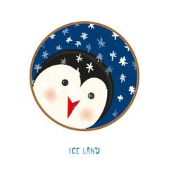 Cute animal icon on white background. Ring badge label penguin.