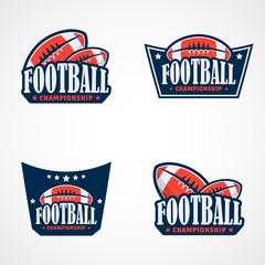 Set of American Football Logo Template. Vector College Logos Illustration