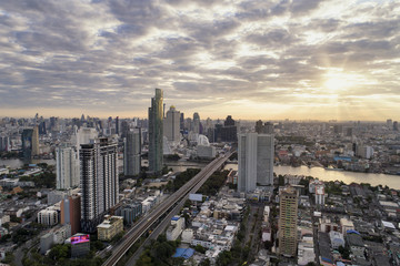 Bangkok skyline at night in business area in Bangkok Thailand.