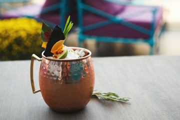 Moscow mule cocktail served on restaurant table