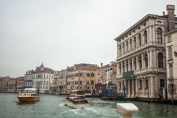 Famous palaces on the Grand Canal in Venice, Italy. Moisture