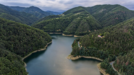 lake in the mountain bird view