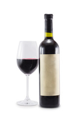 A bottle of wine and a glass isolated on a white background