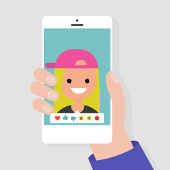Social media icons. Reactions: thumbs up, thumbs down, emoji. Rate the photo. Millennial character. Hand holding a smartphone. Flat editable vector illustration, clip art