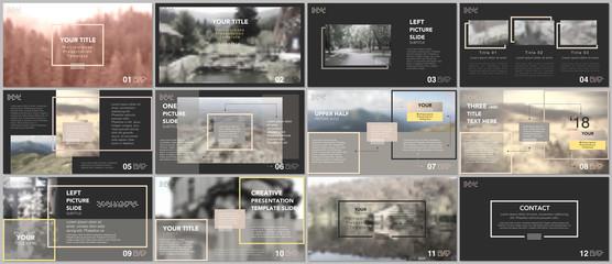 Clean and minimal presentation templates. Yellow color elements on a black background. Brochure cover vector design. Presentation slides for flyer, leaflet, brochure, report, marketing, advertising.