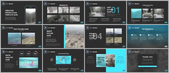 Clean and minimal presentation templates. Blue elements on a black background. Brochure cover vector design. Presentation slides for flyer, leaflet, brochure, report, marketing, advertising, banner