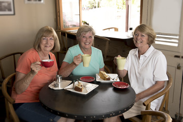 group of three lovely middle age senior mature women girlfriends meeting for coffee and tea with cakes at coffee shop sharing time together